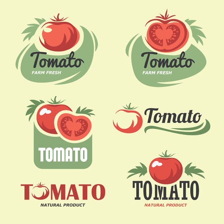 tomatoes: Set of tomato labels and symbols in vector