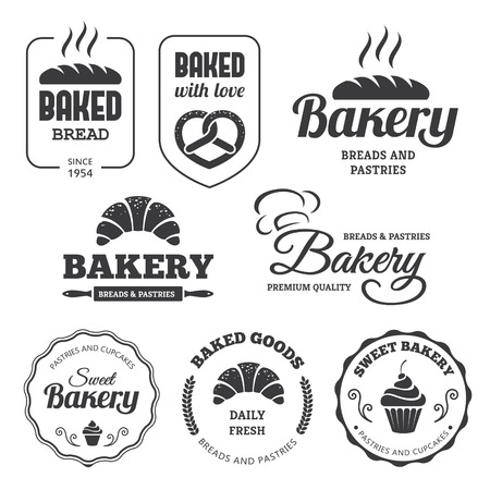 shop sign: Set of bakery labels and symbols 2