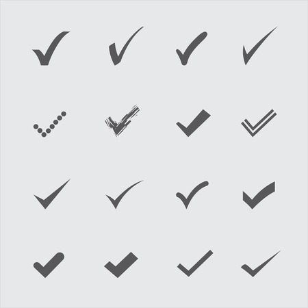 confirm: Set of gray confirm icons in vector