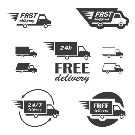 Conjunto de iconos de entrega con camiones en el vector
