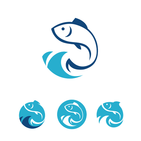 Four blue round signs with fish in vector