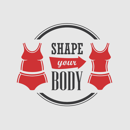 Badge with two red tracksuit silhouettes on fat and slim woman figure motivating sports and weight loss
