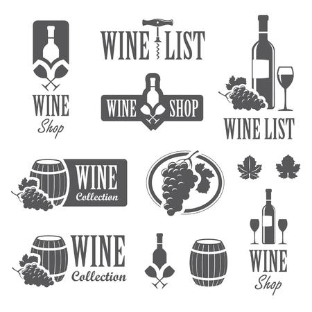 vinho: Conjunto de vinho sinais, emblemas e etiquetas