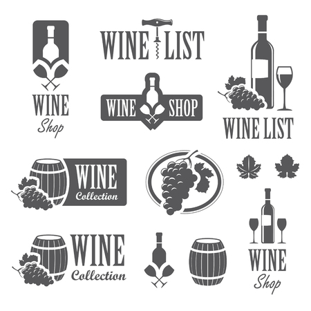bottle of wine: Set of wine signs, badges and labels