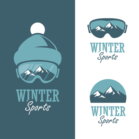 ski: Three badges for winter sports with mountains, ski mask and winter hat