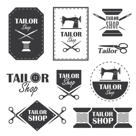 Ensemble des étiquettes, des badges et des signes de boutique de tailleur dans le vecteur