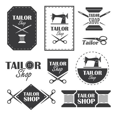 Set etiketten, insignes en borden voor kleermaker in vector