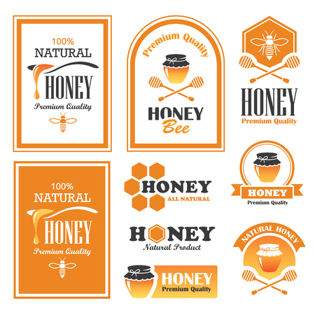 honey jar: Set of honey labels and signs in vector