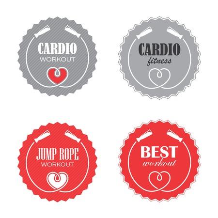 saltar la cuerda: Cuatro muestras redondas con la cuerda de salto para la aptitud cardiovascular Vectores