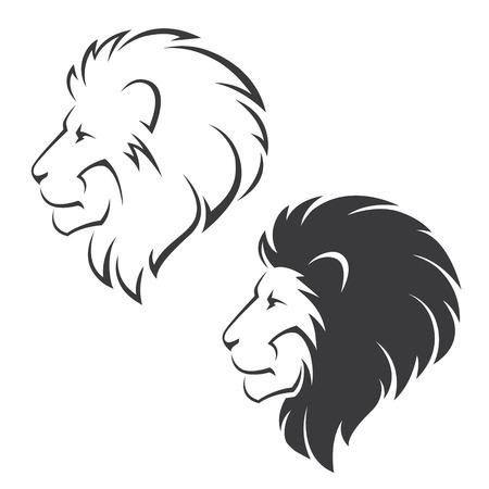 Deux symboles de vecteur avec tête de lion dans le profil Banque d'images - 57900715