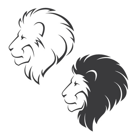 head profile: Two vector symbols with lion head in profile