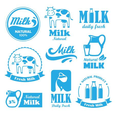 Insieme dei contrassegni blu e simboli per il latte in vettoriale