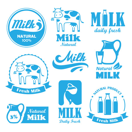 Set of blue labels and symbols for milk in vector