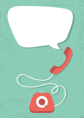 old postcards: Vector illustration of retro phone and bubble on seamless geometric background Illustration