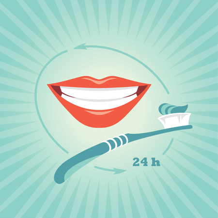 beautiful smile: Vector illustration with toothbrush and beautiful smile on blue background