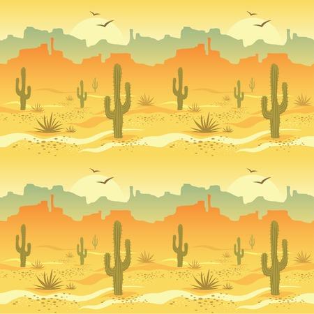 Seamless pattern con paesaggio desertico e cactus nel vettore