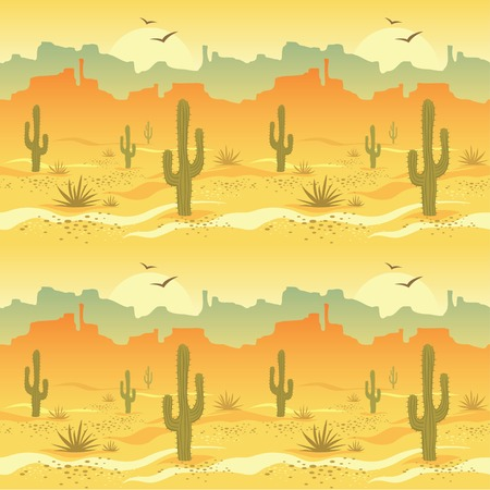 desert sun: Seamless pattern with desert landscape and cacti in vector