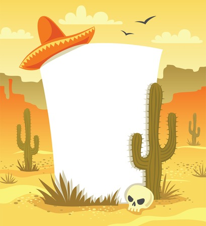 Mexican background with desert  landscape, cacti, hat and skull in vector Illustration