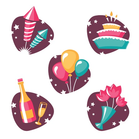 holiday party: Set of five colorful party and holiday symbols in vector