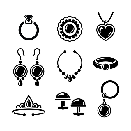 knickknack: Set of jewelry icons in vector Illustration