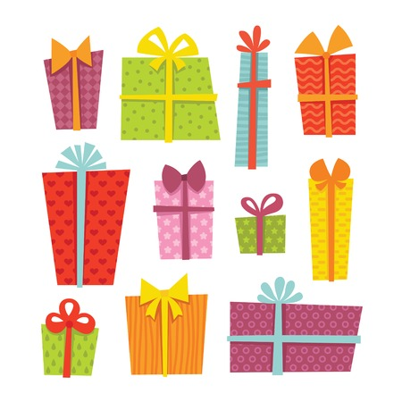 Set of cute colorful gift boxes in vector Illustration