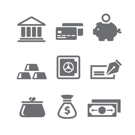 Set van financiën en geld pictogrammen in vector
