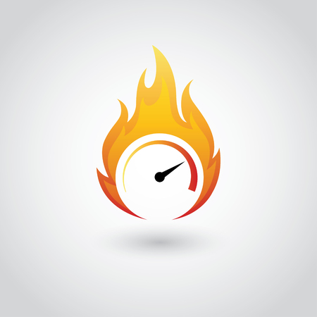 fire symbol: Speedometer symbol on fire in vector