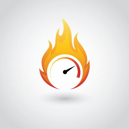 Speedometer symbol on fire in vector