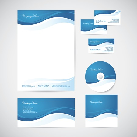 blue card: Corporate identity templates with blue design elements: blank, envelope, business card, CD and CD cover Illustration