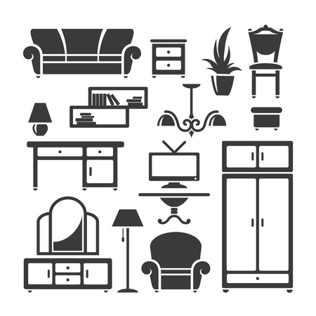 console table: Set of home furniture symbols in vector