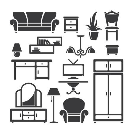 home furniture: Set of home furniture symbols in vector