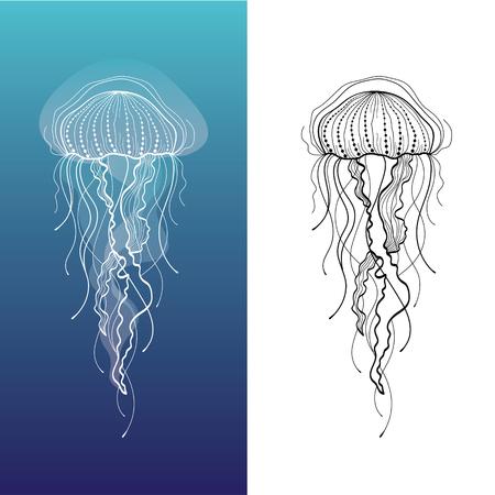 Streszczenie ilustracja meduz w wektorze