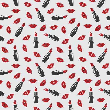lady in red: Seamless pattern with red lips and lipstick in vector Illustration