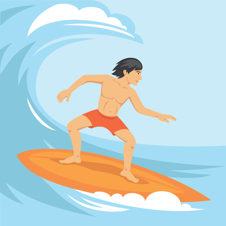 surfer vector: Vector illustration of surfer riding the wave