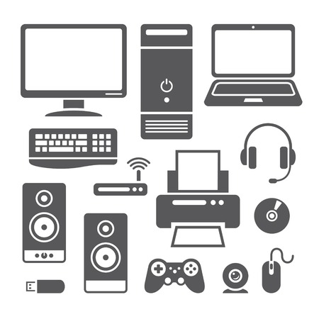 echnology: Set of symbols of computer devices in vector