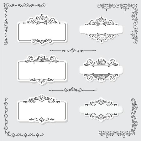 Set of vintage frames and design elements in vector