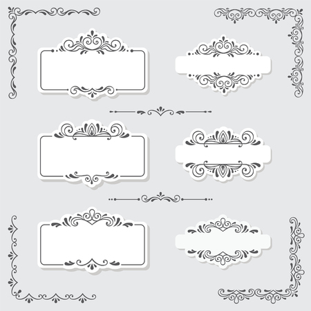 Set of vintage frames and design elements in vector
