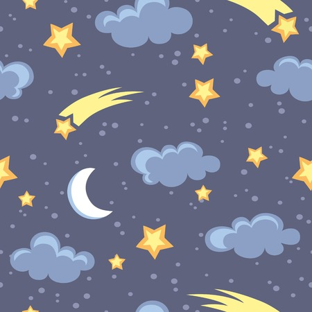lullaby: Night sky seamless pattern in vector