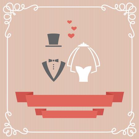 bride veil: Wedding invitation card in vector Illustration