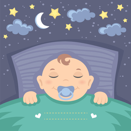 blanket: Vector card with cute sleeping baby boy