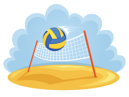 beach game: Vector illustartion of ball and volleyball net