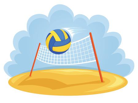volleyball team: Vector illustartion of ball and volleyball net