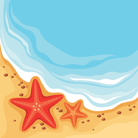 Pebble Beach: Vector illustration of two starfishes on the beach Illustration