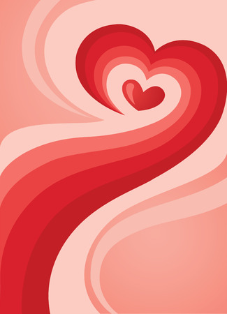 halftones: Abstract background with lines in different semitones of red in heart shape