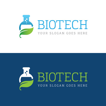 biotech: Icon with flask and leaf for biotechnology