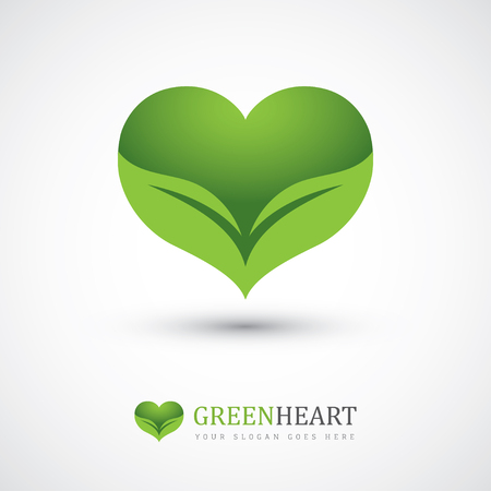 Groene vector pictogram met hart vorm en twee bladeren. Kan gebruikt worden voor eco, veganist, kruiden gezondheidszorg of de natuur zorgconcept logo design Stock Illustratie