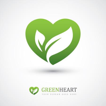 심장 모양과 두 잎 녹색 벡터 아이콘입니다. 친환경, 채식, 허브 건강 또는 자연 치료 개념 로고 디자인에 사용할 수 있습니다 일러스트