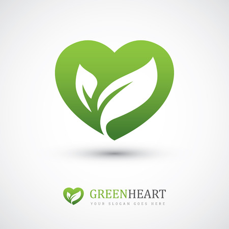 Green vector icon with heart shape and two leaves. Can be used for eco, vegan, herbal healthcare or nature care concept logo design