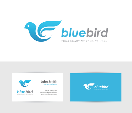 business travel: Abstract blue bird icon with business card design template. Can be used for travel or delivery logo concept