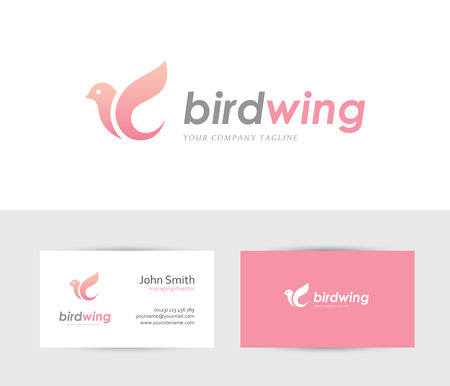 beauty center: Abstract bird icon with business card design template. Can be used for spa, beauty, health or family care center logo concept